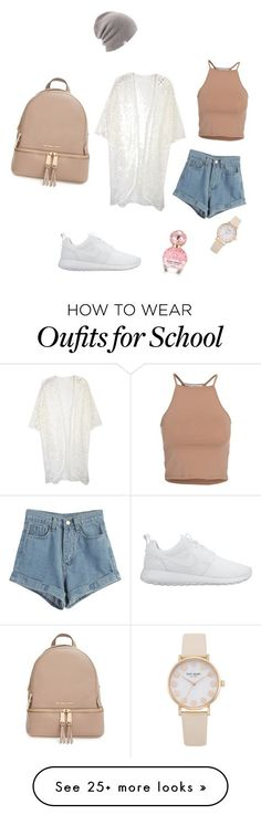"""school wear"" by mumbleberry on Polyvore featuring MICHAEL Michael Kors, NIKE, NLY Trend, Marc Jacobs, WithChic and Coal"