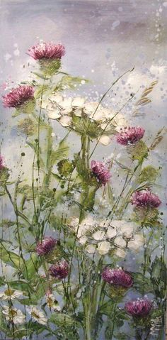 Thistle and Queen Anne's Lace painting...Marie Mills