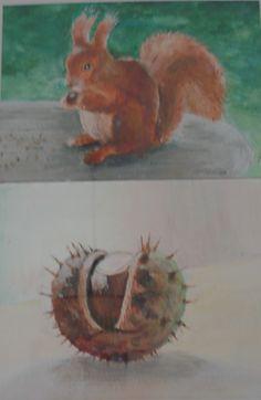 Herfstbeelden, Eekhoorn en Kastanje, geschilderd door Anje