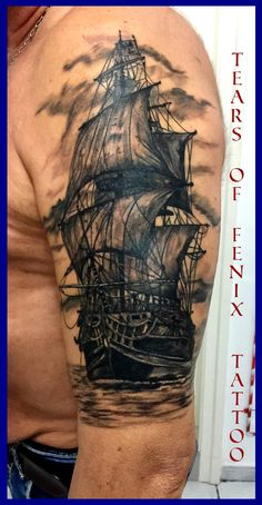 Tattoo of Ship / Sailing boat tattoo – octopus tattoo Half Sleeve Tattoos For Guys, Arm Sleeve Tattoos, Tattoo Sleeve Designs, Tattoo Designs Men, Tattoos 3d, Octopus Tattoos, Body Art Tattoos, Boat Tattoos, Pirate Ship Tattoos