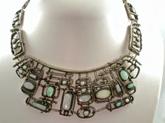 SALE - Opal Necklace - OOAK Handmade Silver Opal Necklace - Wearable Art -  Bridal - Abstract Art - Wedding Jewelry