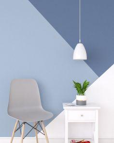10 Creative Geometric Wall Paint Ideas - roomdsign.com #painting #paintingideas Bedroom Wall Designs, Bedroom Wall Colors, Accent Wall Bedroom, Room Colors, Paint Ideas For Bedroom, Wall Painting Colors, Office Wall Colors, Creative Wall Painting, Wall Painting Decor