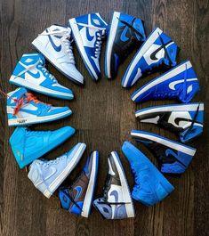 Nike Shoes OFF! ►► Nike air Jordan 1 collection Who wants a pair of sneakers? Nike Air Jordans, Sneakers Nike Jordan, Retro Jordans, Jordan Shoes Girls, Jordans Girls, Nike Air Shoes, Air Jordan Shoes, Jordan Nike, Blue Jordans
