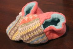 Peach Fair Isle Baby Booties Upcycled Wool and Cashmere