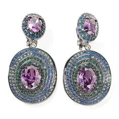Real Collectibles by Adrienne Jeweled Saucer Shape Diamonite CZ and Crystal Versatile Earrings