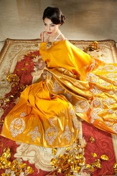 Yellow Kanjeevaram Saree with Heavy Stone Embroidery by Pallavi Jaikishan