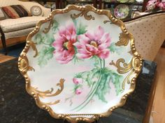 """Old Abbey Limoges France 12&3/4"""" Pink Poppies Artist Signed #OldAbbeyLimoges"""