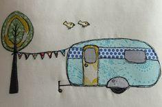 Retro Caravan Cushion   Free motion applique ... link to tutorial   #mycreativespace