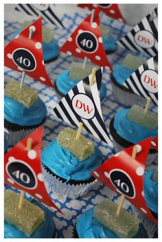 Nautical Theme - sailboat cupcakes
