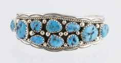 Native-American-Pawn-2-Row-Turquoise-Baby-Bracelet-by-IC