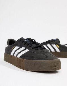 313871504 adidas Originals samba rose sneakers in black with dark gum sole. # adidasoriginals #sneakers #shoes #activewear
