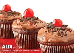 For a dessert that's the cherry on top of your holiday meal, try Chocolate Covered Cherry Cupcakes. #ALDIholiday