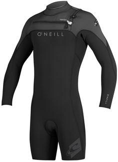 O Neill Hyperfreak Long Sleeve Springsuit Wetsuit 2mm Front Zip Black Grey  This O dc654c0536d1
