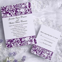 Classic damask purple and white wedding invitations EWI031 as low as $0.94