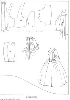 Pattern from Norah Waughs The cut of womans clothes. Showing the way the back of a Francaise and the Anglaise a Fourreau is cut in one piece and pleated to give shape. Ther must be a lining to support the fabric and stitch it in place Barbie Patterns, Costume Patterns, Doll Clothes Patterns, Clothing Patterns, Dress Patterns, Sewing Patterns, Historical Costume, Historical Clothing, Barbie Clothes