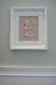Personalized Monogrammed Button Display-White Ornate Picture Frame-Shabby Chic-Wedding Bridesmades-Baby Shower Nursery Gift. $110.00, via Etsy.