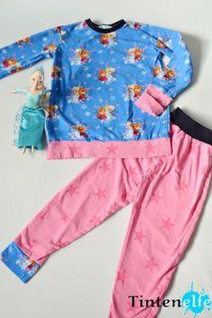 Tintenelfe.de - Nähen für Kinder - Süße Träume im neuen Schlafanzug - Anna und Elsa Schlafi #disney #frozen #nähen #sewing