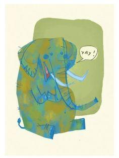 elephant blue green speech bubble