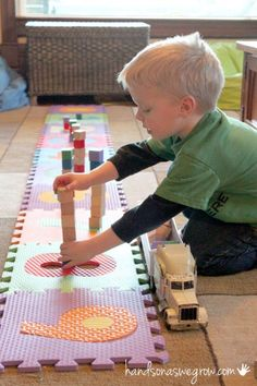 Counting blocks while building towers on the ABC mat