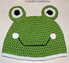Crochet Creative Creations- Free Patterns and Instructions: Crochet Frog Child Hat