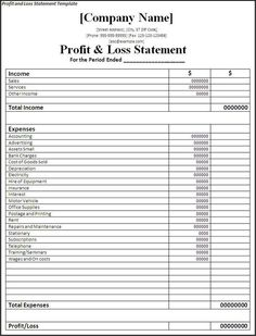 Asset And Liability Statement Template Cool Profit And Loss Template Strong Illustration Templates Statement .