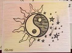 Day & Night Ying Yang Prints/multicolored/colored pencil/paint marker