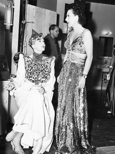 Hedda Hopper and Joan Crawford on the set of The Women (1939, directed by George Cukor).