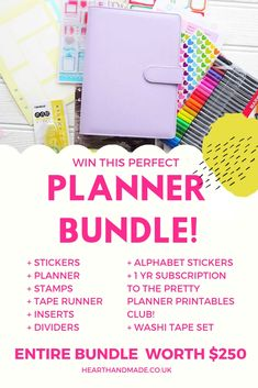 Head over to Heart Handmade UK and enter the giveaway to win the Perfect Planner Bundle Free Planner, Printable Planner, Happy Planner, Planner Stickers, Printables, Washi Tape Set, Alphabet Stickers, Perfect Planner, Travelers Notebook