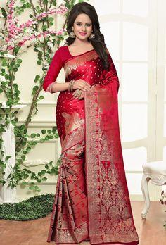 739316 Red and Maroon color family Party Wear Sarees, Silk Sarees in Banarasi, Silk fabric with Thread, Zari work with matching unstitched blouse. Indian Dresses, Indian Outfits, Indian Clothes, Indian Silk Sarees, Saree Models, Stylish Sarees, Elegant Saree, Saree Dress, Red Saree