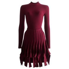 Preowned Alaia Maroon Chenille And Wool Body And Skirt Ensemble ($2,418) ❤ liked on Polyvore featuring skirts, red, skirt suits, long purple skirt, woolen skirt, long fringe skirt, panel skirt and red knee length skirt