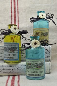 """Decorative Glass Bottles with Vintage look French """"Parfum"""" Label - Treasury List Item"""