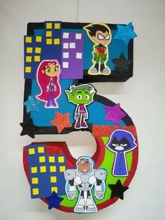 Teen Titans pinata inspired. super heroes birthday Party. teen titans birthday party decoration Superhero Birthday Party, 6th Birthday Parties, Birthday Party Decorations, Boy Birthday, Birthday Wishes, Birthday Nails, Birthday Ideas, Teen Titans Go, Ideas Party
