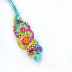 Colorful pendant  bollywood jewelry  soutache necklace  by QlkaArt