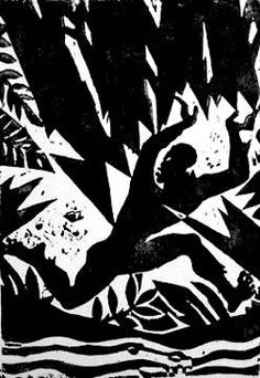 "Aaron Douglas, Emperor Jones series; woodcut print on Japanese paper (1929)  ""Flight"" (Aaron Douglas (1899-1979) is the best-known visual artist of the Harlem Renaissance.)"