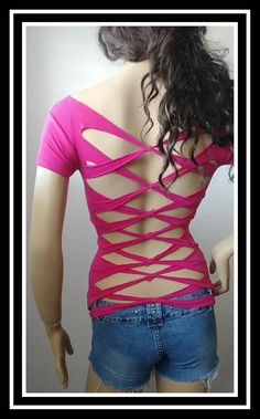 Pink womans cut up fitted t-shirt. Inspired by Adam Saaks.Size M. This style shirt is also available in sizes S-XL in black . Diy Cut Shirts, T Shirt Diy, T Shirt Remake, Cut Shirt Designs, Cut Up T Shirt, Diy Clothes Refashion, Shirt Refashion, Cut Clothes, Clothes Crafts
