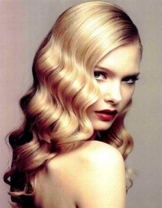 Long beautiful wavy retro looking hairstyle