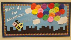 Up themed back to school bulletin board