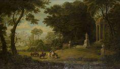 Frankreich, 18. Jh.Jagdgesellschaft vor einem Tempel der Göttin Diana. Öl/Lwd., auf Karton aufgezo — Gemälde großes Format