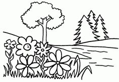 Trees and flowers - Free Printable Coloring Pages