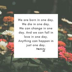 We are born in one day. We die in one day. We can change in one day. And we can fall in love in one day. Anything can happen in just one day. #positivitynote #positivity #inspiration