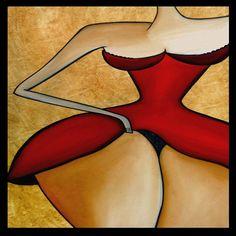Seductora - La pintura abstracta moderna original pop Art vestido rojo grande Retrato Contemporáneo desnuda por Fidostudio
