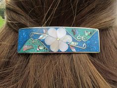 Shared Treasures Boutique -  Abalone Shell  MOP Barrette / Hair Clip - Rectangular Blue Green Flower - Handmade in Mexico, USD12.18 (http://www.sharedtreasuresboutique.com/abalone-shell-mop-barrette-hair-clip-rectangular-blue-green-flower-handmade-in-mexico/)