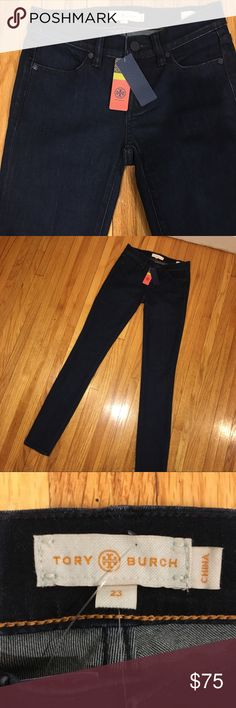 ❤️Auth Tory Burch Denim Jean Leggings Jeggings 23 I am selling a New With Tags, 100% Authentic, Tory Burch Indigo Dark Descriptive Leggings in Size 23. These are like Jeggings and are stretchy and comfortable!  Inseam is 32.5 Inches and from the waistline is 40 Inches.  The frontside waist measurement is 13.5 Inches but stretches! The website says these are equivalent to a 00 or an XXS Tory Burch Jeans Skinny