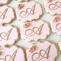 Glittery, girly plaque cookies for a very sweet Iced Cookies, Royal Icing Cookies, Sugar Cookies, Cookies Et Biscuits, 16 Birthday Cake, Sweet 16 Birthday, Birthday Cupcakes, 16th Birthday, Geek Birthday