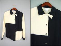 2TONES SILK SHIRT / Vtg Black and ivory square  by evamaniadesign, $29.00