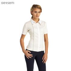 Gersemi Addy Competition Shirt, £50. A timeless look in an Alabaster shade, with stand up slanted collar.