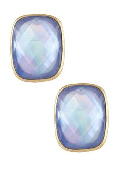 18K Gold Clad Bold Swiss Blue Crystal Over Mother of Pearl Doublet Stud Earrings