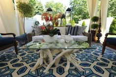 White painted driftwood as a coffee table base.  I wish I had thought of this.