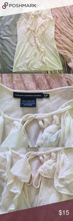 Ralph Lauren ruffle top This shirt is in excellent condition. It is very cute to layer with a blazer. Ralph Lauren Tops