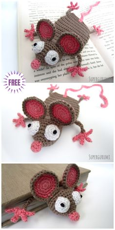 51 New Ideas For Crochet Bookmark Mouse Free Pattern Crochet Bookmark Pattern, Crochet Bookmarks, Crochet Amigurumi Free Patterns, Crochet Books, Crochet Gifts, Diy Crochet, Knitting Projects, Crochet Projects, Crochet Mouse
